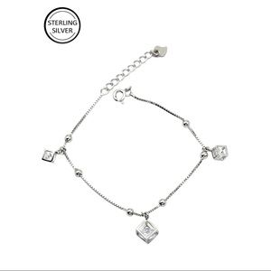 Delicate square crystal sterling silver bracelet
